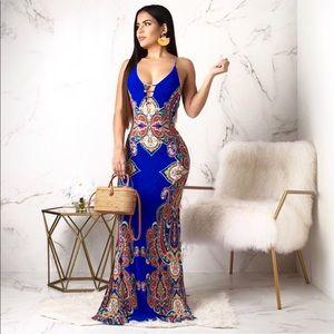 Dresses & Skirts - COMING SOON-Blue Open Back Mermaid Maxi Dress